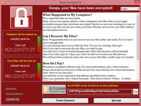 Screenshot gesperrter Bildschirm Wannacry Ransomware